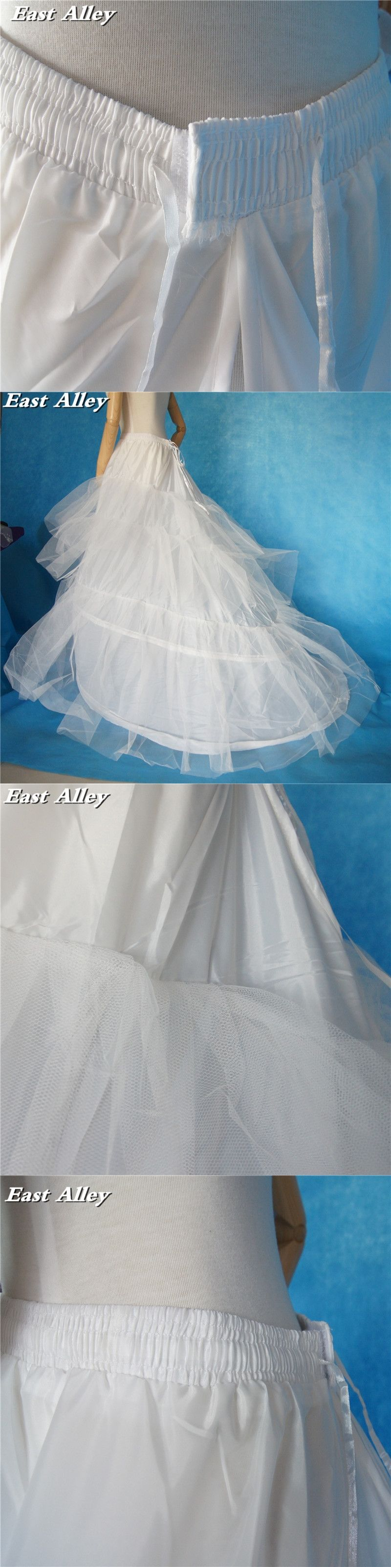 Plus size 2 Hoops Ivory or White Wedding Gown Train Petticoat ...