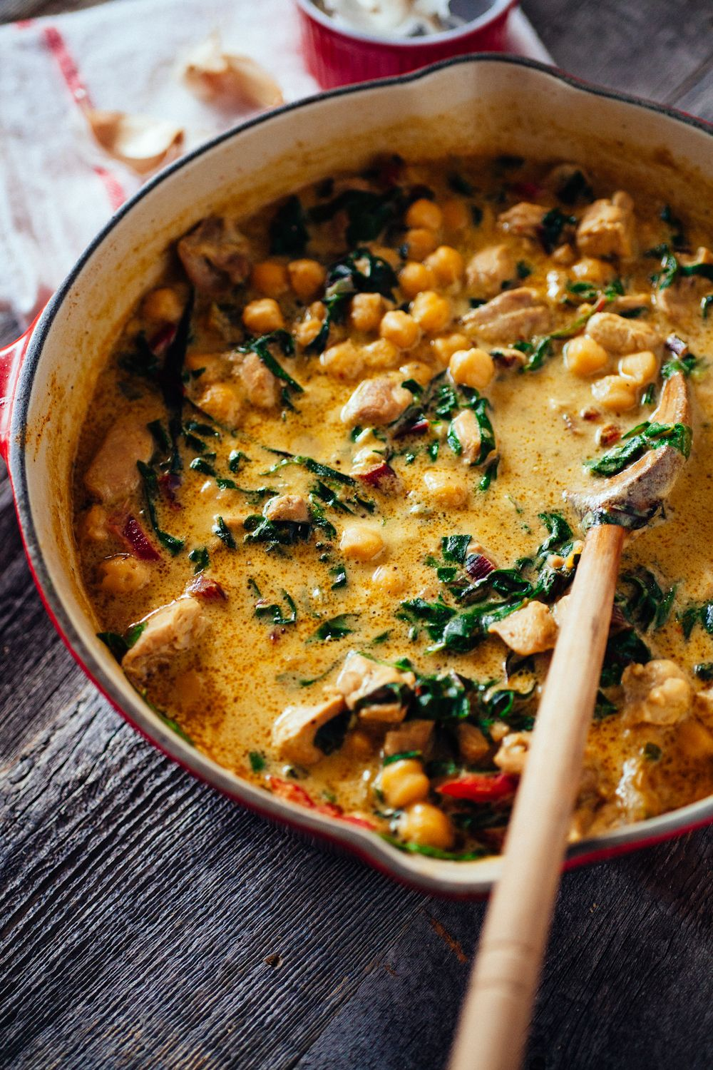 Green chickpea and chicken coconut curry with Swiss chard.