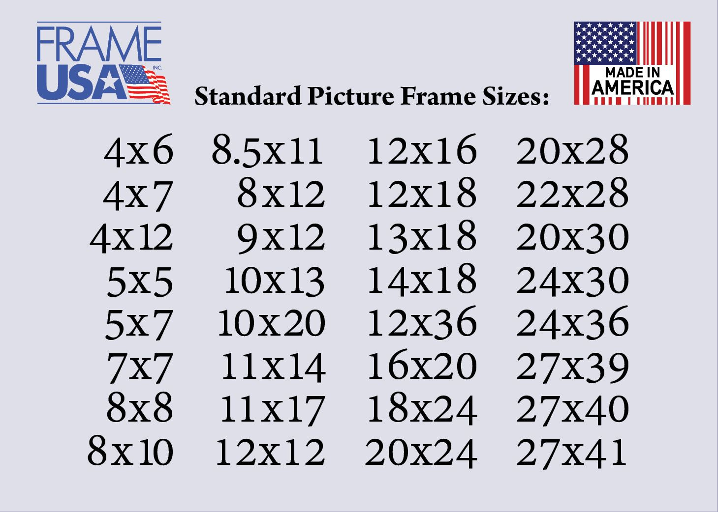 Standard Picture Frame Sizes Standard Picture Frame Sizes