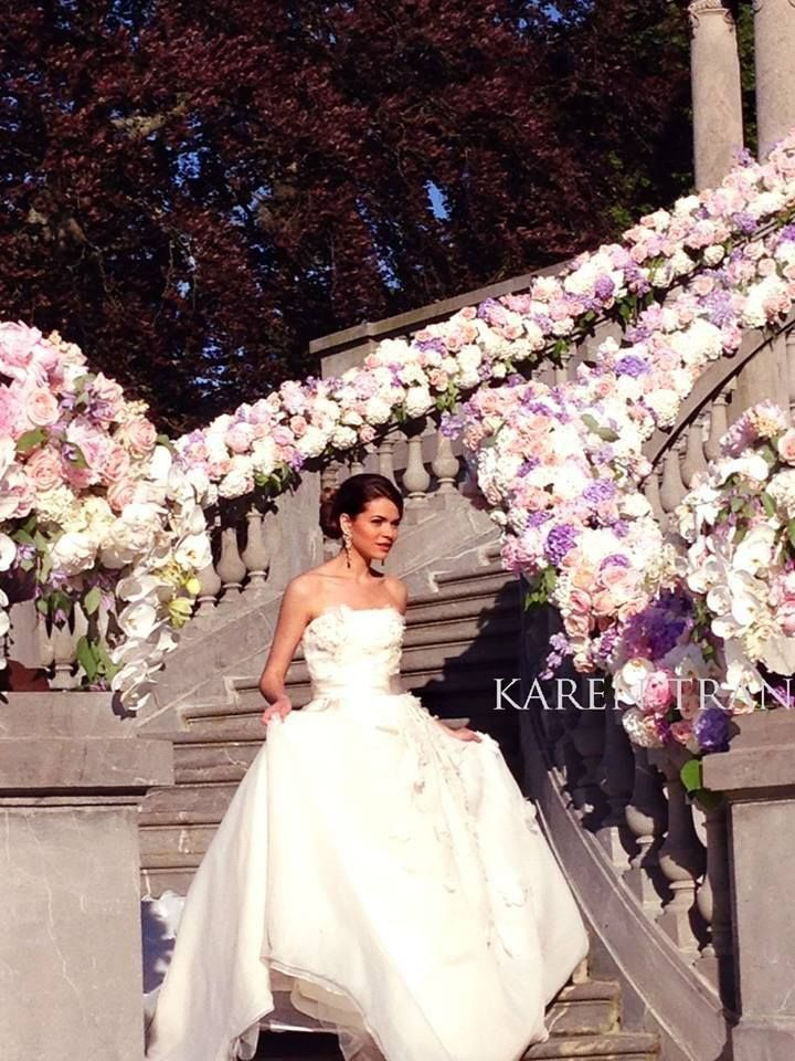 Wow! Look at the floral stair railings!