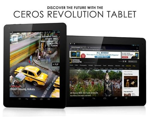 Shopswagstore.com will be launching Ceros Electronics powerful Revolution Tablets in this month. The so called 'The Ceros Revolution Tablet' (available in White and Black) will come with the latest powerful 1.6GHz RK3188 Quad-Core Chip, a crystal clear Retina display and long-lasting battery of 8000 mAh. Priced to nlow minds.