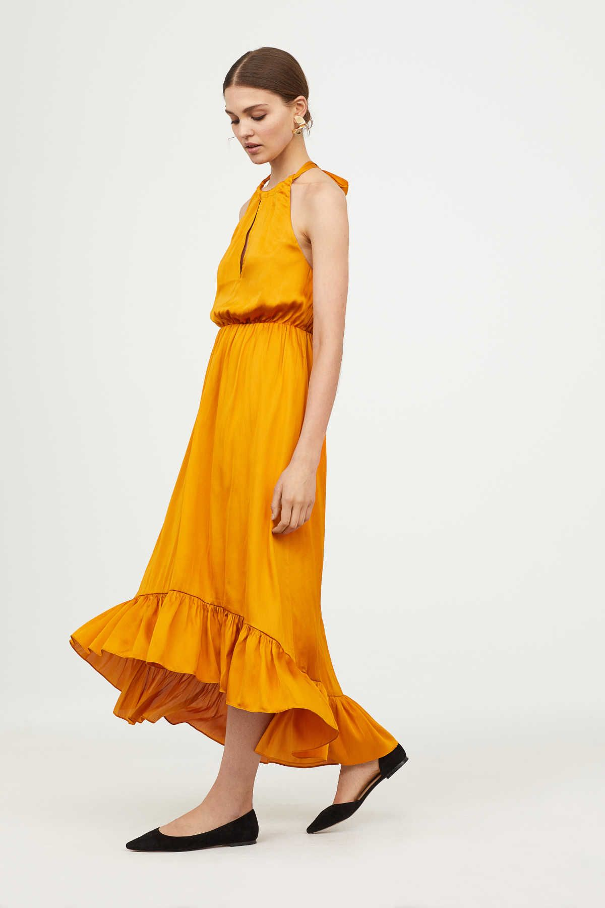 6bbddbaad7 Amber-colored. Halterneck dress in satin with a sheen. Tie at back of neck