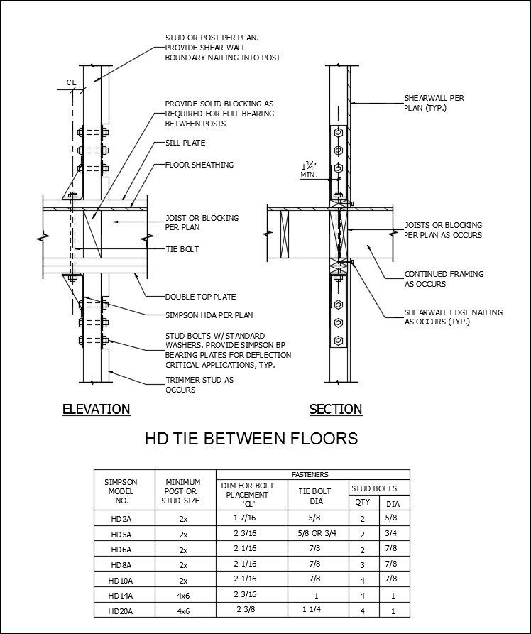 Free CAD Details-Holdown Tie Between Floors – CAD Design