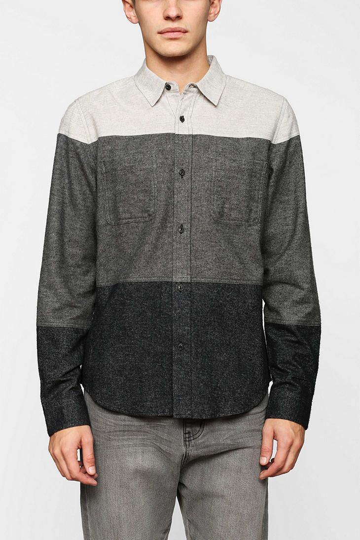 Charles & 1/2 Colorblock Flannel Button-Down Shirt