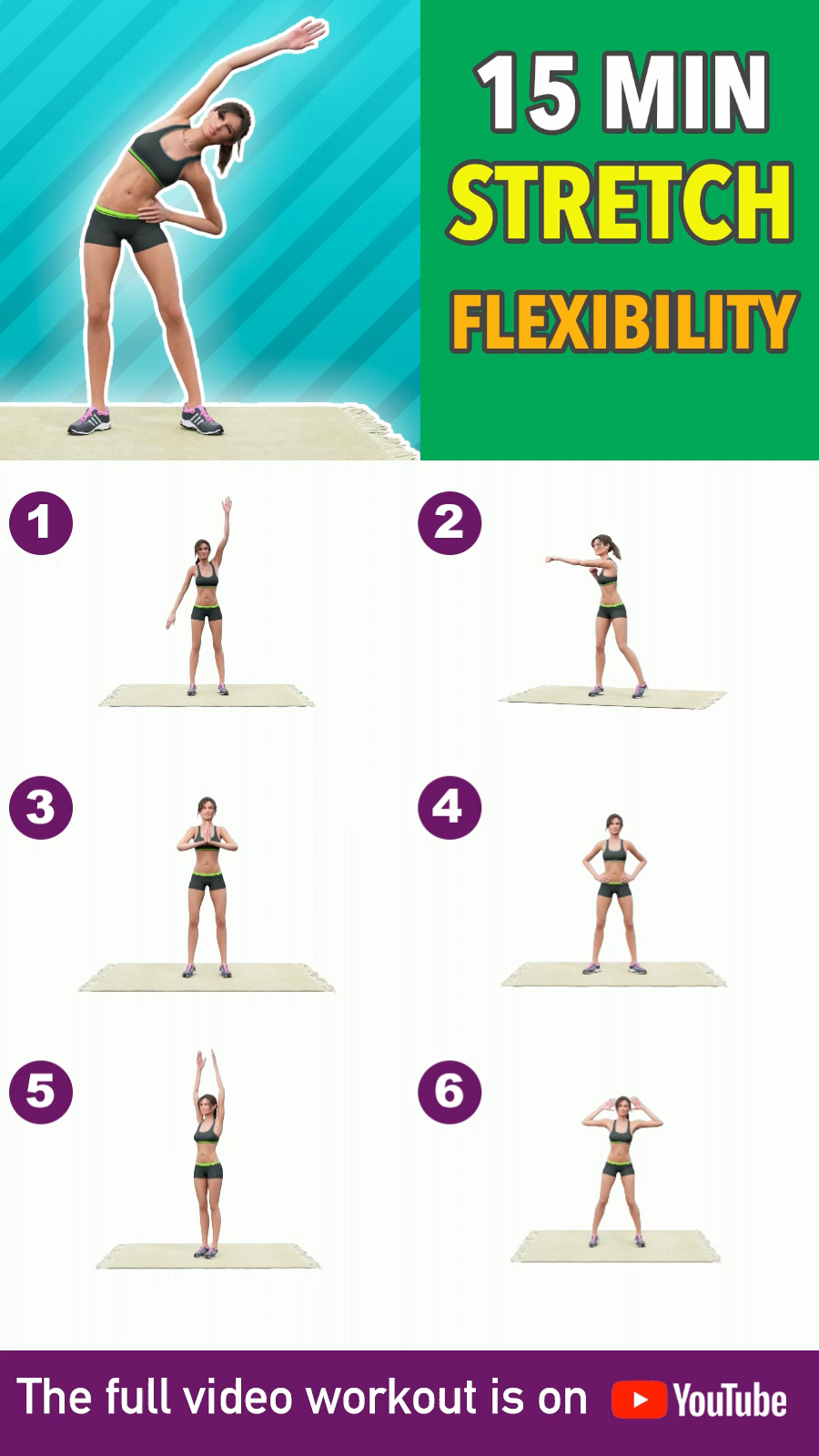 15 Min Stretching: Total Body Flexibility and Warm Up #15minworkout
