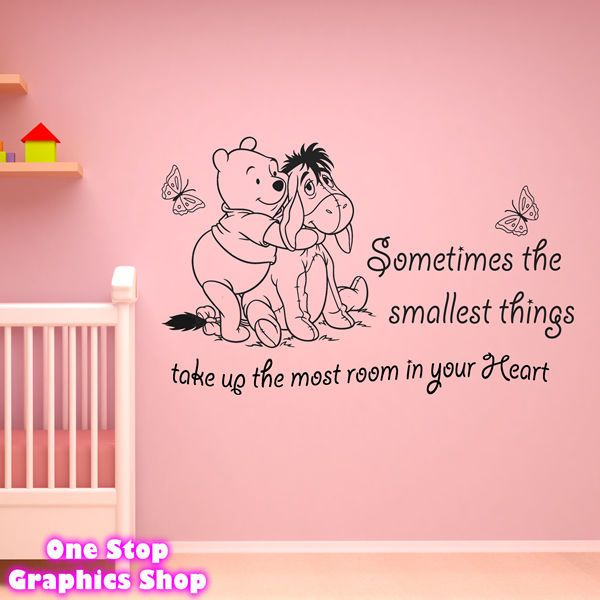 Winnie The Pooh Wall Art winnie the pooh wall art quote sticker - girl boy kids nursery