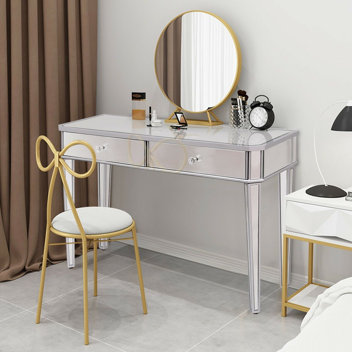 2 Drawers Mirrored Vanity Make Up Desk Console Glass Vanity Table Small Vanity Table Glass Vanity