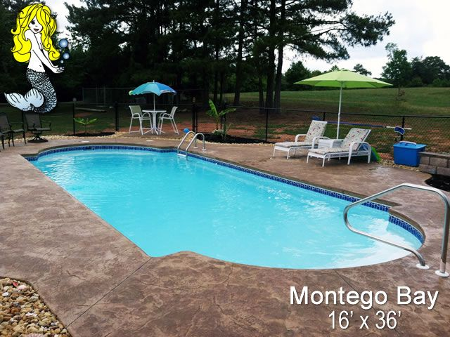 Montego Bay Fiberglasspool Featuring Built In Seating Large Swim Corridor And Convenience Ledge Tallmanpool Fiberglass Swimming Pools Fiberglass Pools Pool