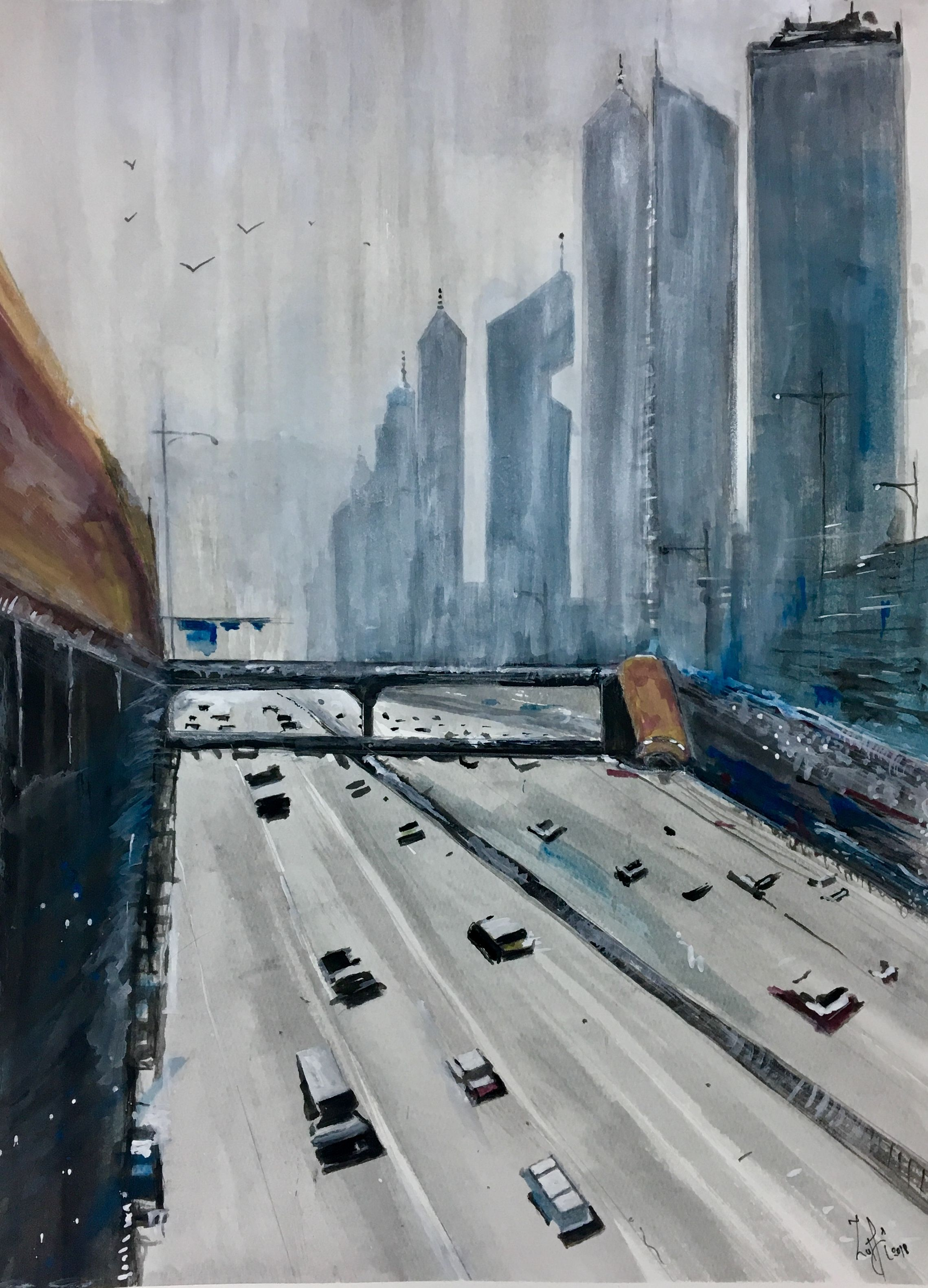 Sheikh Zayed Road Dubai Watercolor Painting Painting