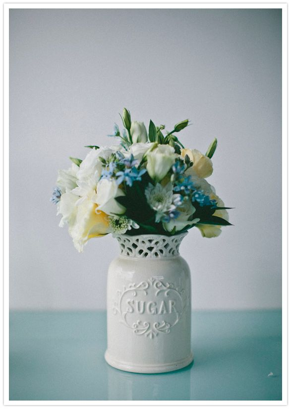 blue, white and ivory wedding bouquet