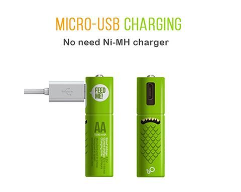 Rechargeable Aa Aaa Batteries With Built In Micro Usb Charging Port 12 99 For A Pack Of 4