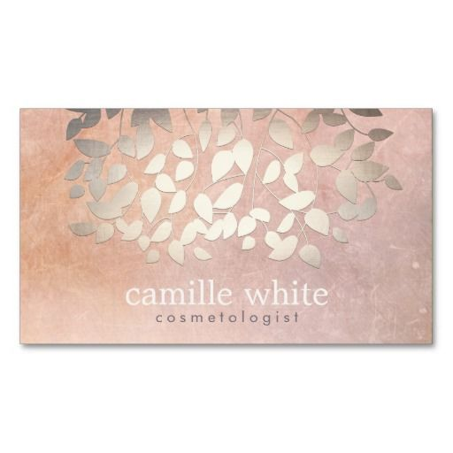 Elegant cosmetology faux gold foil leaves peach business card elegant cosmetology faux gold foil leaves peach business card reheart Choice Image