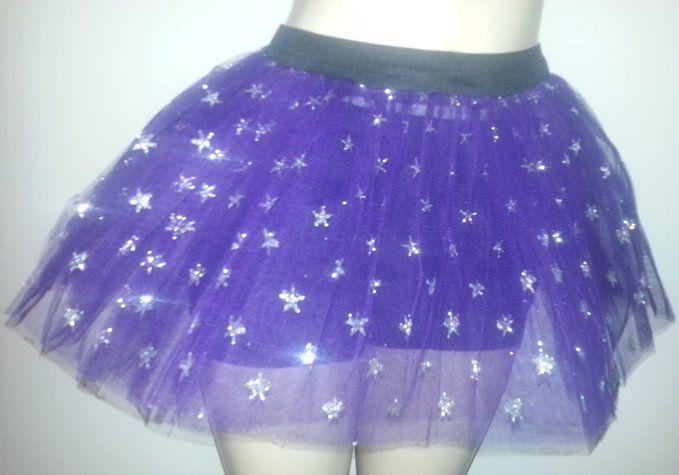 Purple Silver Star Glitter Skirt Gothic Petticoat Rave Dance Dress Costume Fancy