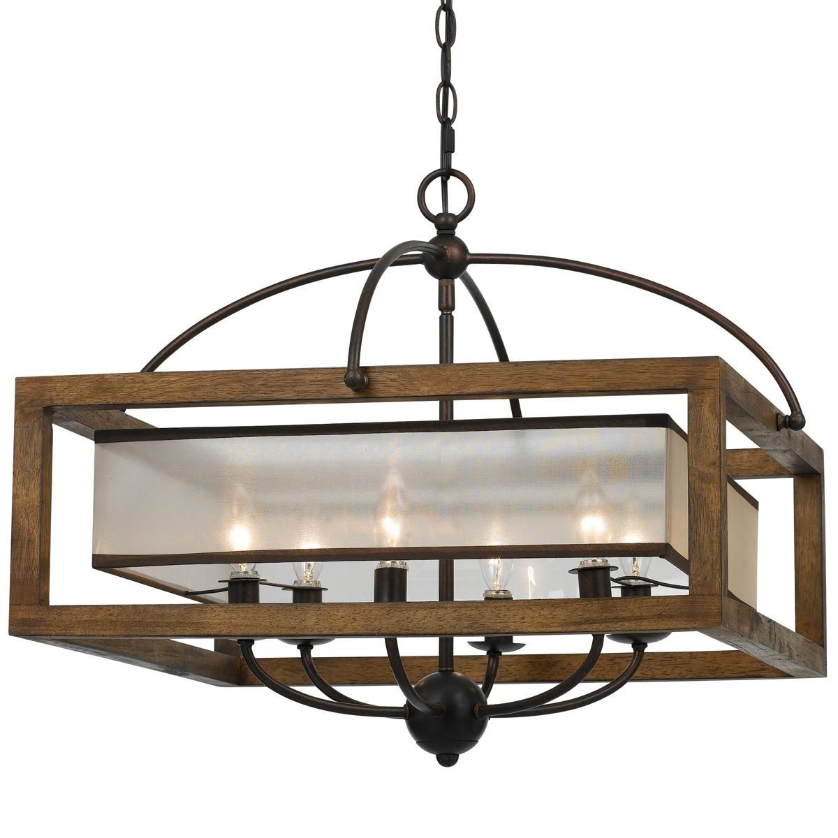 Square Wood Frame And Sheer Chandelier