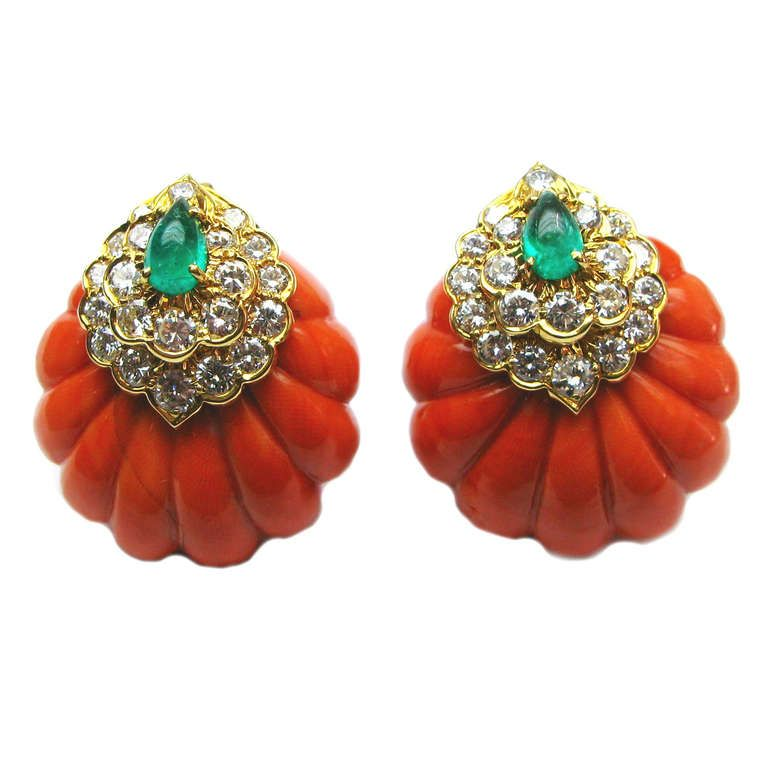 David Webb Coral Emerald Diamond Earrings | From a unique collection of vintage clip-on earrings at https://www.1stdibs.com/jewelry/earrings/clip-on-earrings/