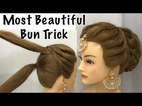 Most Beautiful Hairstyle For Wedding Or Party Easy Hairstyles Bun Hairstyle With Trick Youtube Easy Hairstyles Front Hair Styles Bun Hairstyles