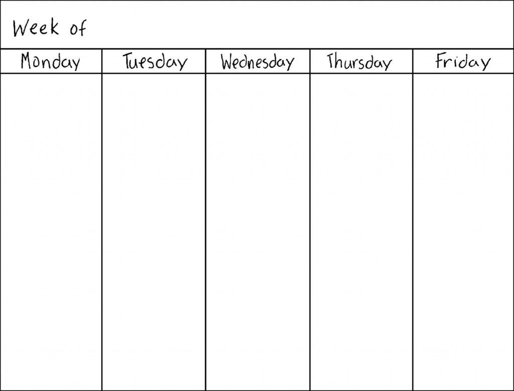 5 Day Week Blank Calendar Printable Desain Limun