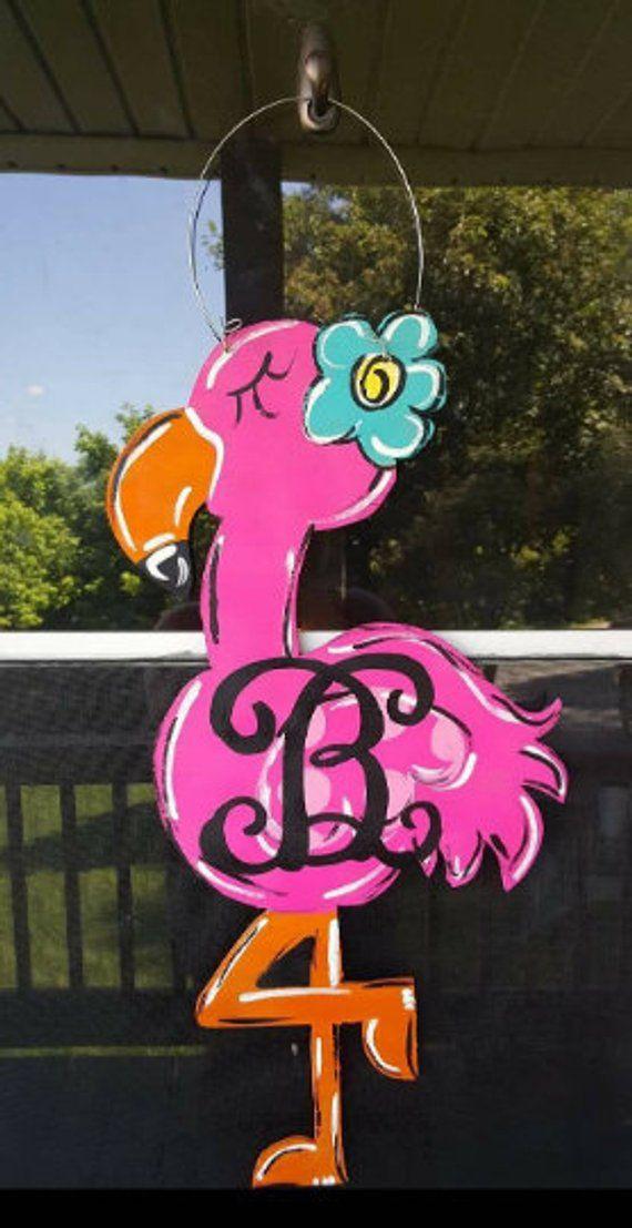 Wooden Flamingo Door Hanger Door Hangers Wooden Door