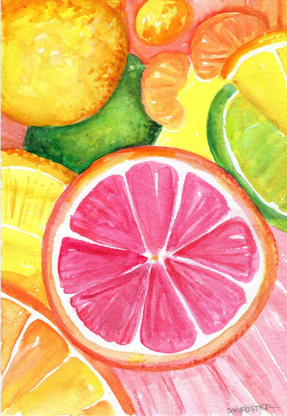 Original Citrus Watercolor Painting Grapefruit Lemon Orange