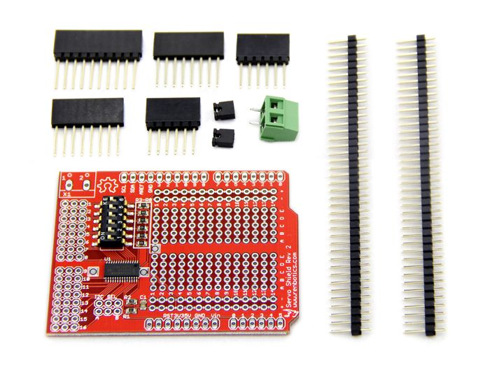 The renbotics servo shield rev is an arduino compatible