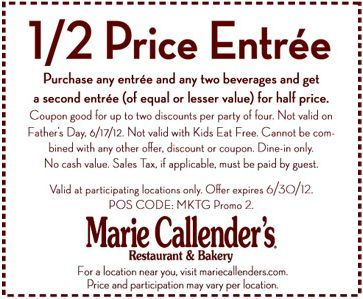 picture about Marie Callender Coupons Printable identify 50% off entree w/ entree invest in at Marie Callenders