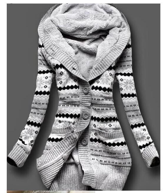 Women Warm Fleece Hooded Long Sleeve Jacket Trench Parka