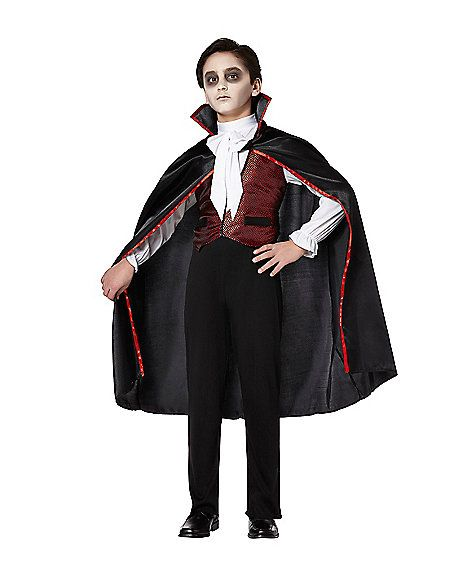 Mens Midnight Vampire Count Dracula Halloween Fancy Dress Costume Outfit M-3XL