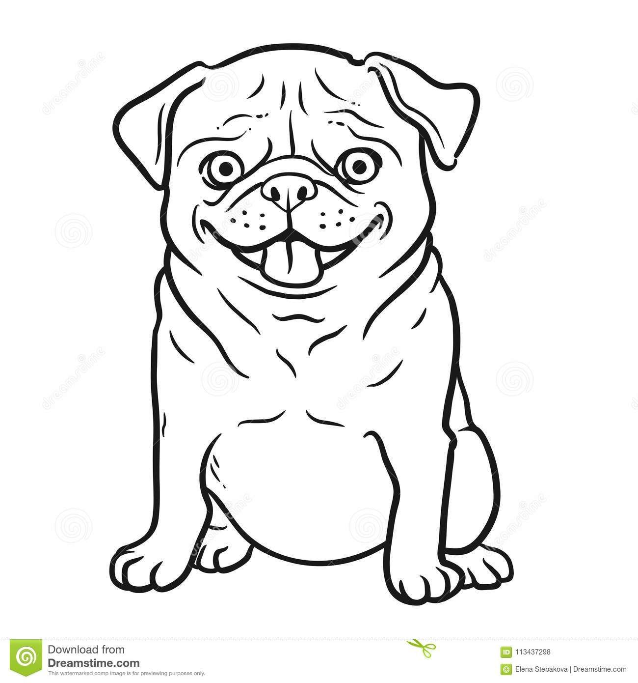 Pug Dog Black And White Hand Drawn Cartoon Portrait Funny Happy Stock Illustration Illustration Of Cute Character 11343729 In 2021 Dog Template Black Cartoon Pugs