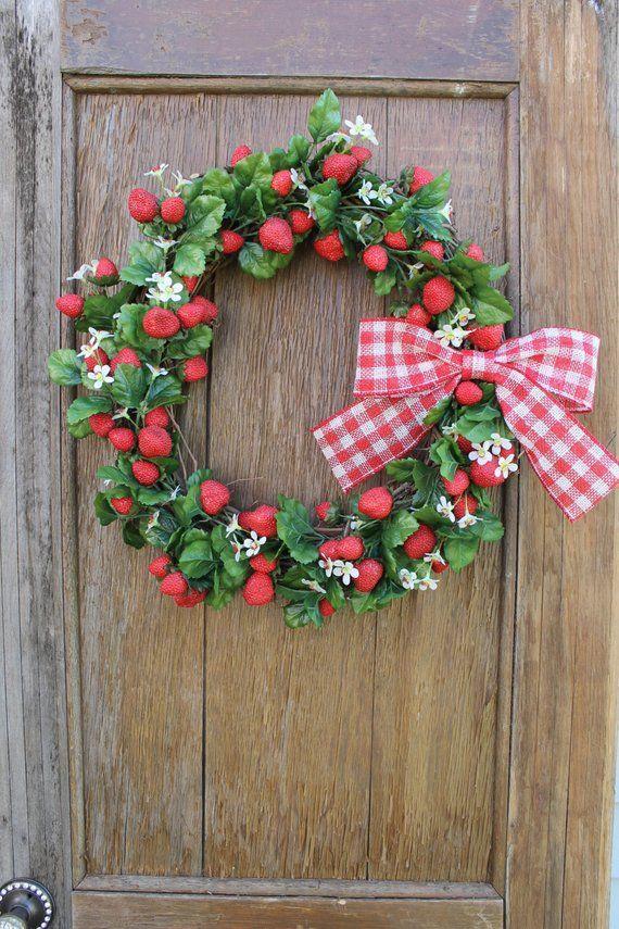 Strawberry Wreath Spring Wreath Summer Wreath Fruit Wreath