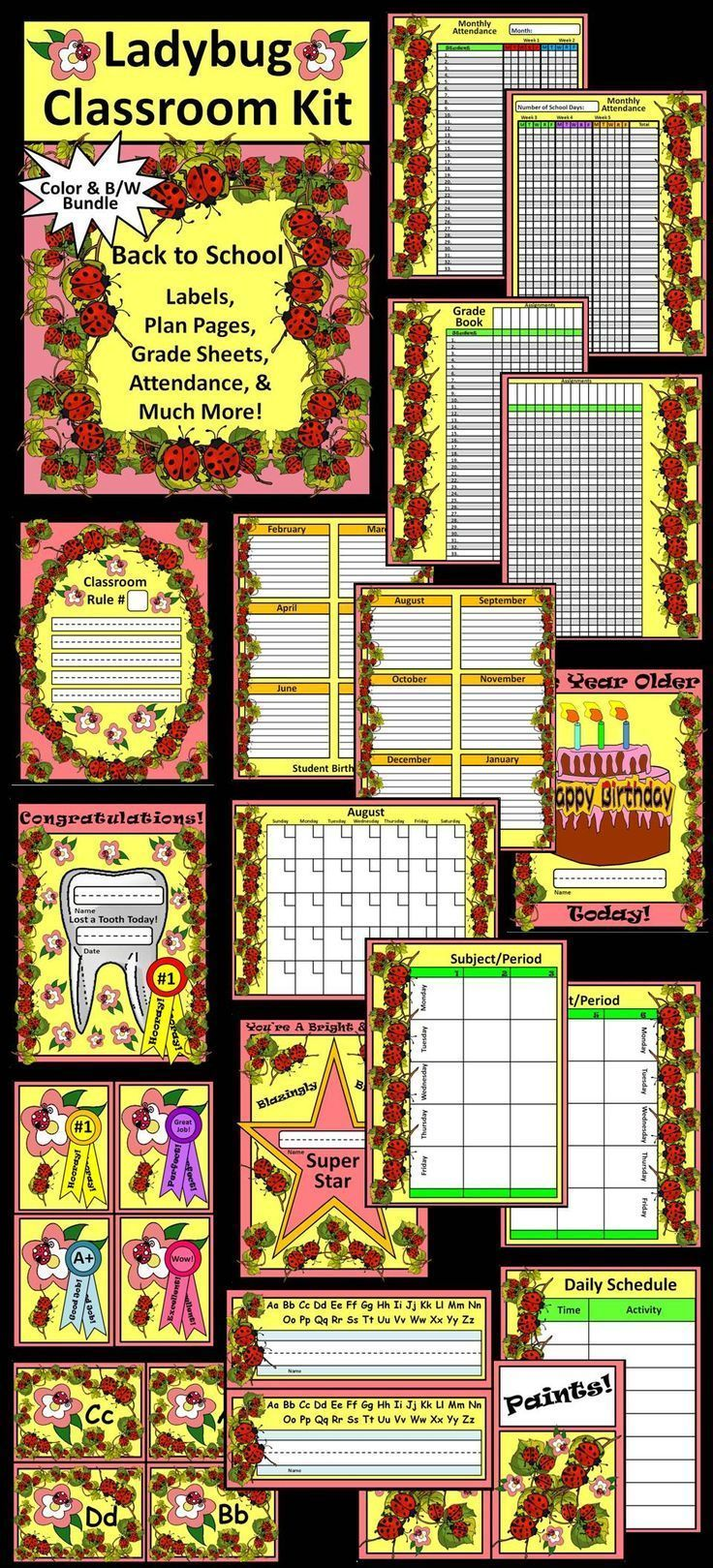 This colorful Back to School kit containing ladybug classroom management items.  Contents include: * Student Nameplates * Rules Template * Supply Labels * Super Student Template * Birthday Cake Template * Lost a Tooth Template * Medal Templates * Alphabet