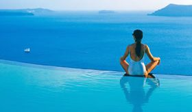the pool at Perivolas hotel  Santorini, Greece