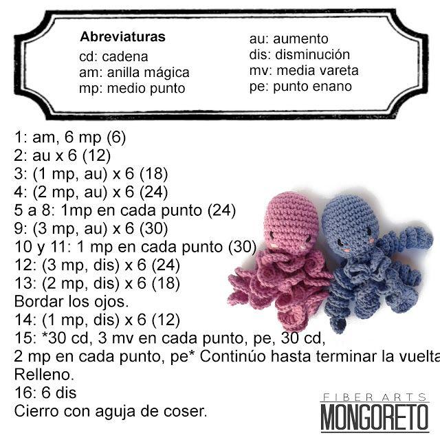 Pulpo amigurumi patrón gratuito por Mongoreto | Costuras | Pinterest ...