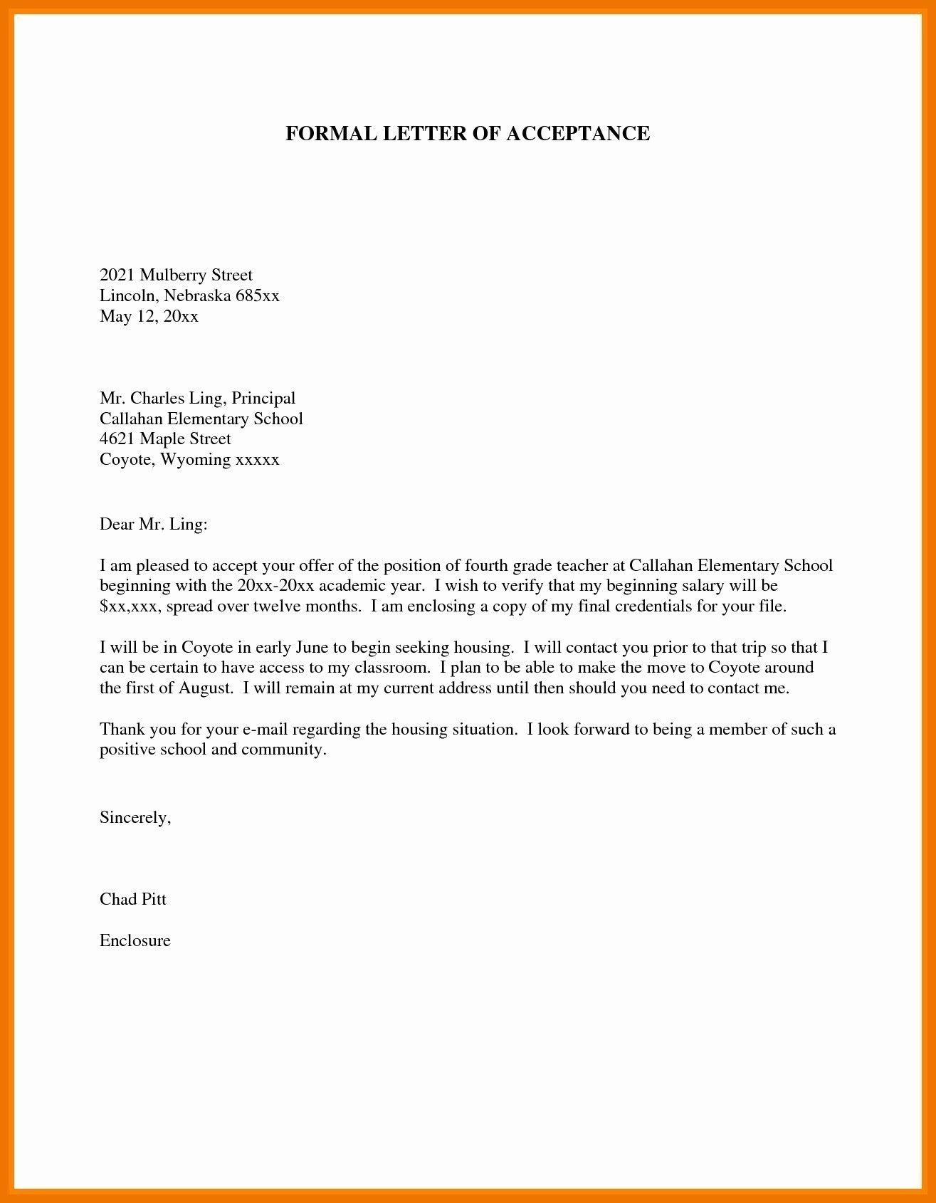 formal letter to school principal