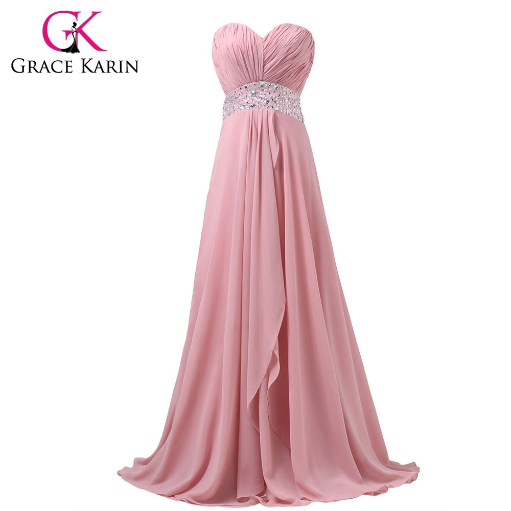 Long Chiffon Bridesmaid Dresses Grace Karin Sweetheart Pink Junior ...