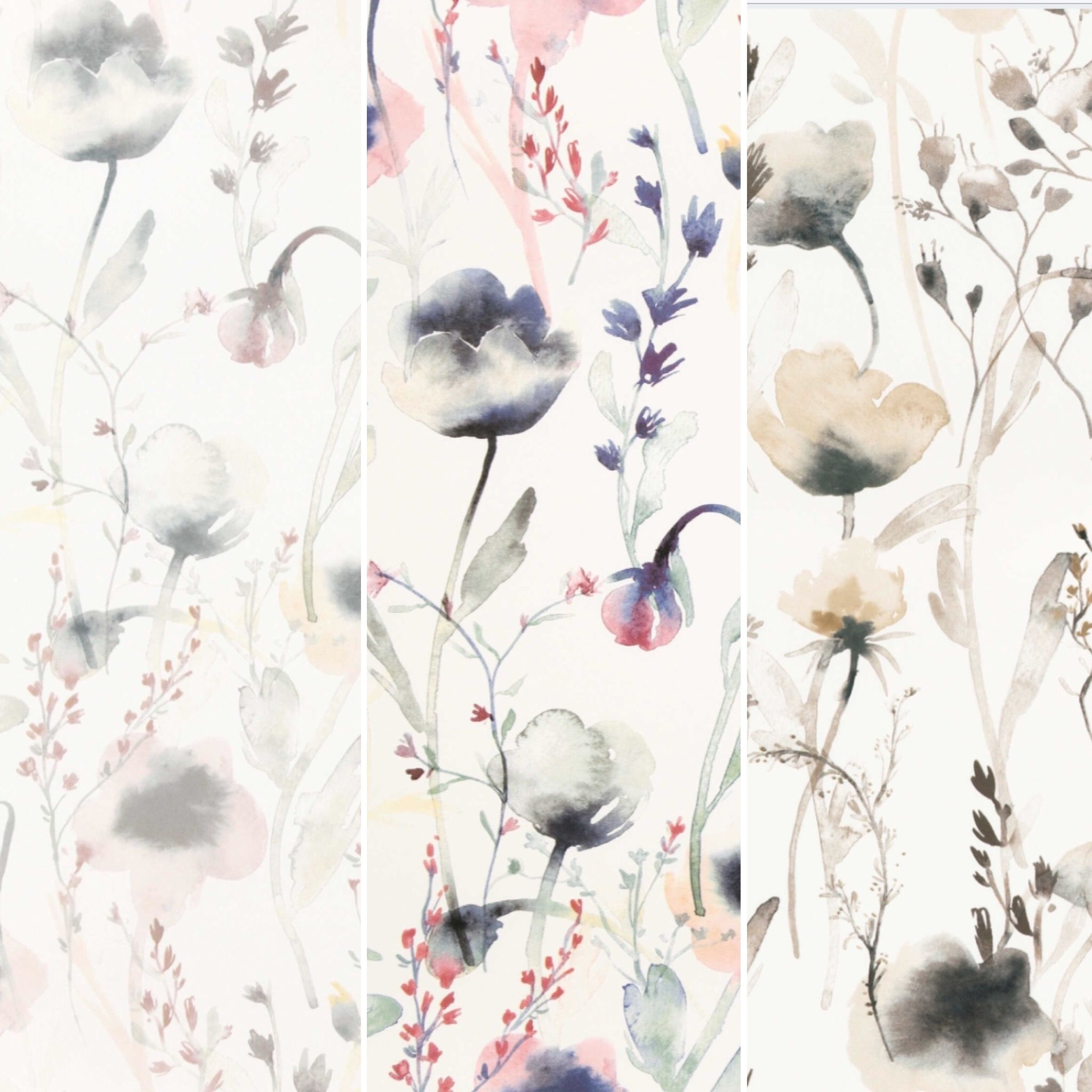 Our botanical wallpaper Lo in three lovely color settings