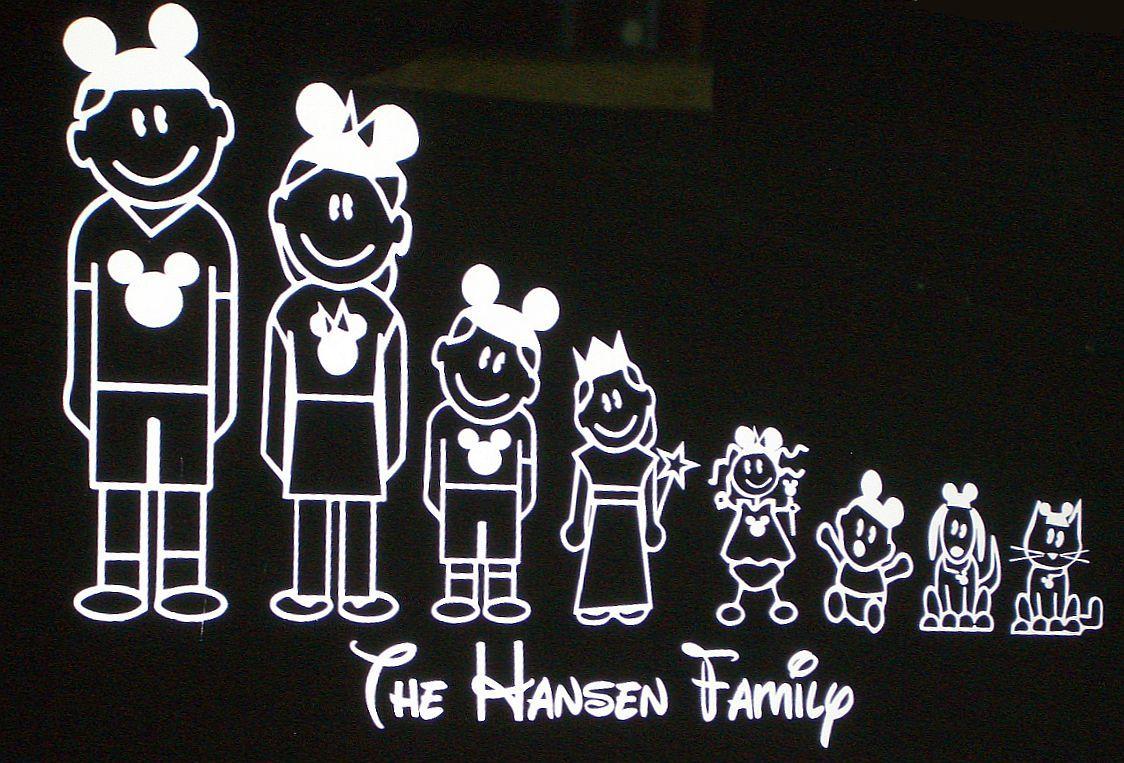 Disney Stick Family Car Window Decals Disney Stickers Family Car Decals Disney Sticker Family Car Stickers [ 763 x 1124 Pixel ]