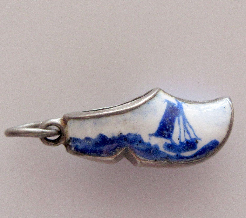 Silver Enamel Dutch Clog Charm or Pendant | Etsy | Silver, Pendant, Vintage  sterling silver