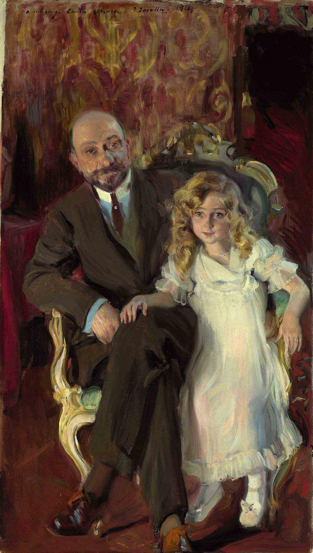 Retrato de Carlos Urcola Ibarra con su hija Eulalia