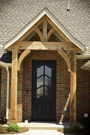 Black Front Door Natural Cedar Beams Front Door