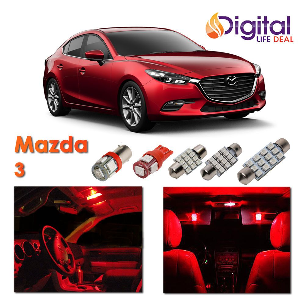 Cool Awesome 7 X Red Interior Led Light Package Kit For 2010 2016 Mazda 3 Sedan Hatchback 2017 2018