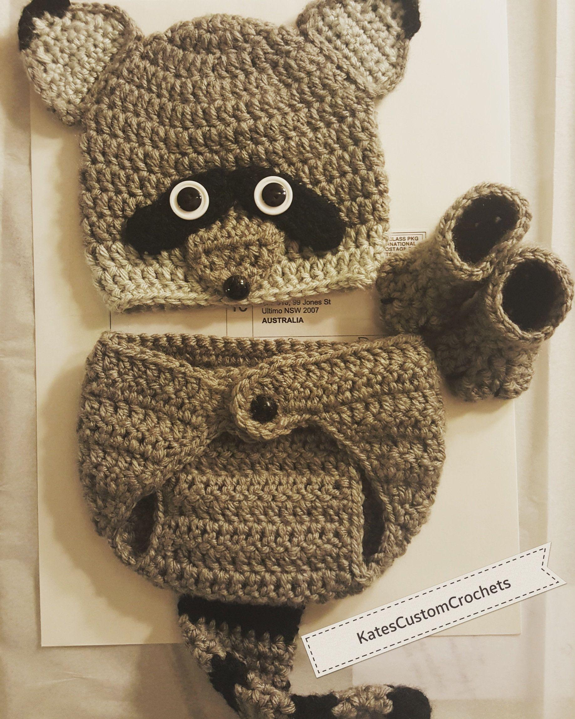 Crochet Newborn Raccoon Outfit - Woodland Photo Prop Costume ...