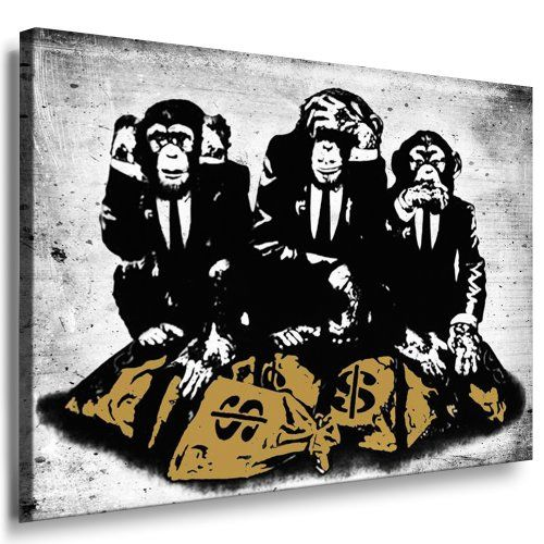 Http://ift.tt/1kfUmYr Banksy Street Art Graffiti Affen Leinwand Von