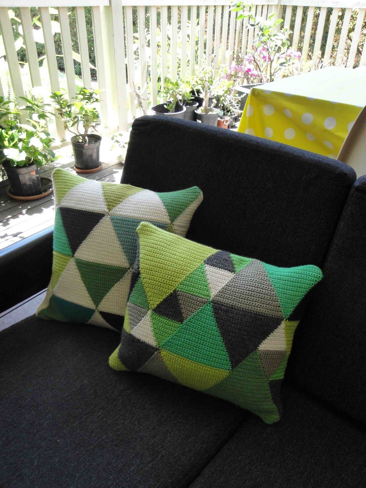 Iuve been making up some more crochet panels into cushions i think