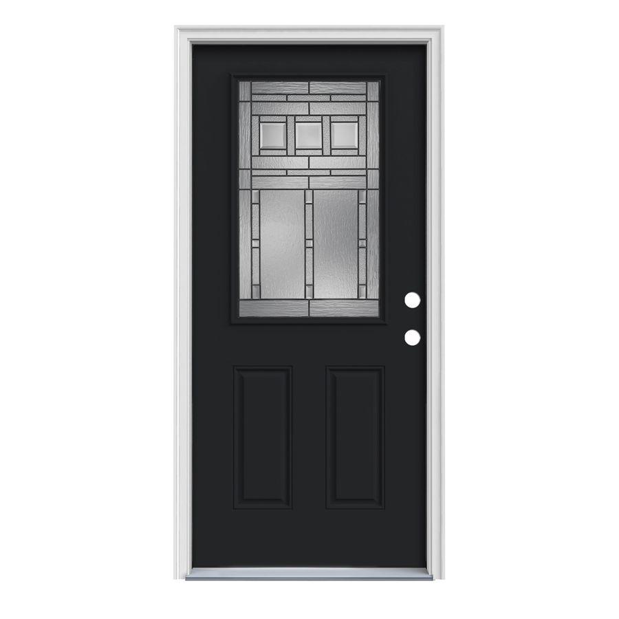 Jeld Wen Craftsman Half Lite Decorative Glass Left Hand Inswing Peppercorn Painted Steel Prehung Entry Doo Fiberglass Entry Doors Steel Entry Doors Entry Doors