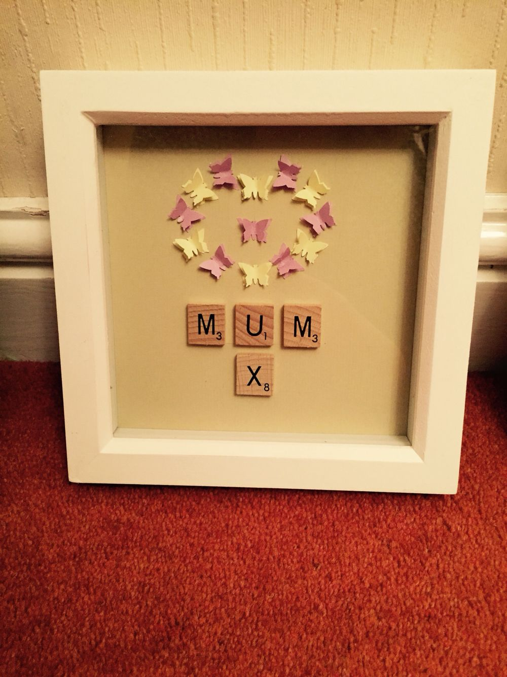 Butterfly and scrabble letters Mother\'s Day frame.. | My Crafts ...