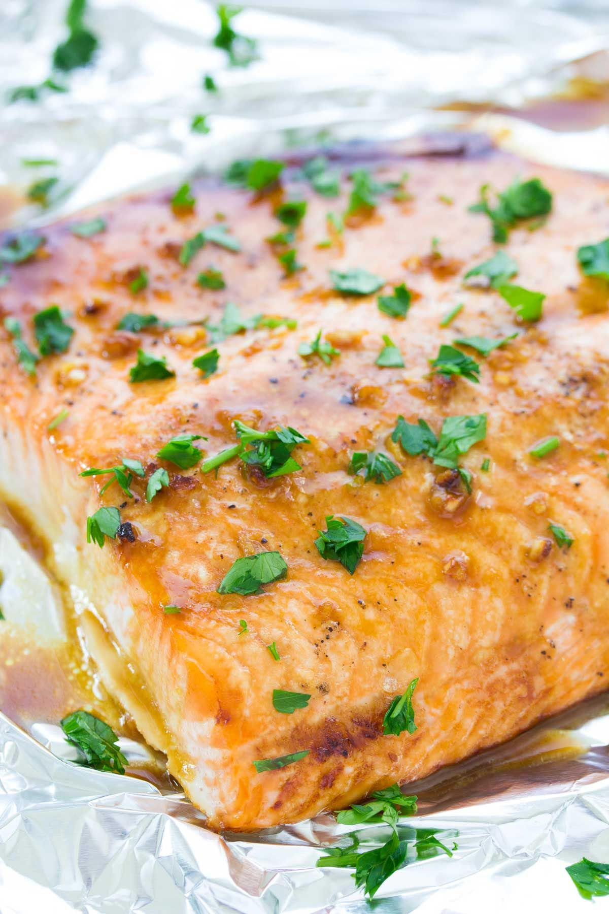 This Easy Oven Baked Salmon Recipe Is Our Favorite With A Honey Dijon And Garlic Sauce And Just Baked Salmon Recipes Oven Baked Salmon Recipes Salmon Recipes