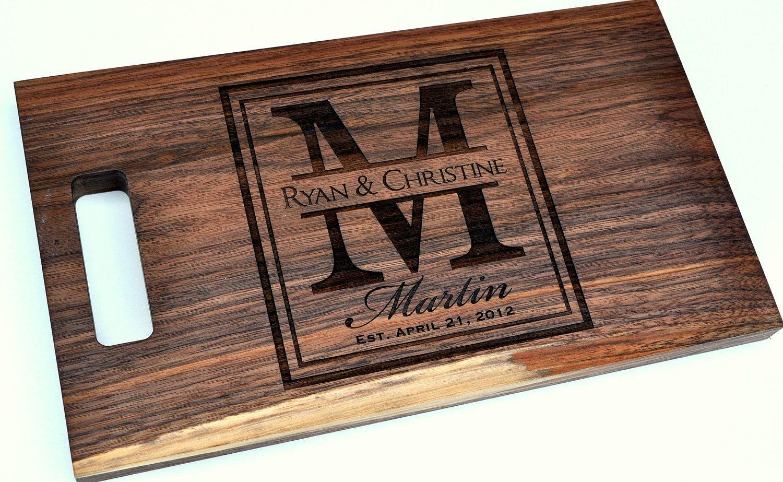 Cutting Board Personalized Laser Engraved Walnut 8x14 Wood Via Etsy
