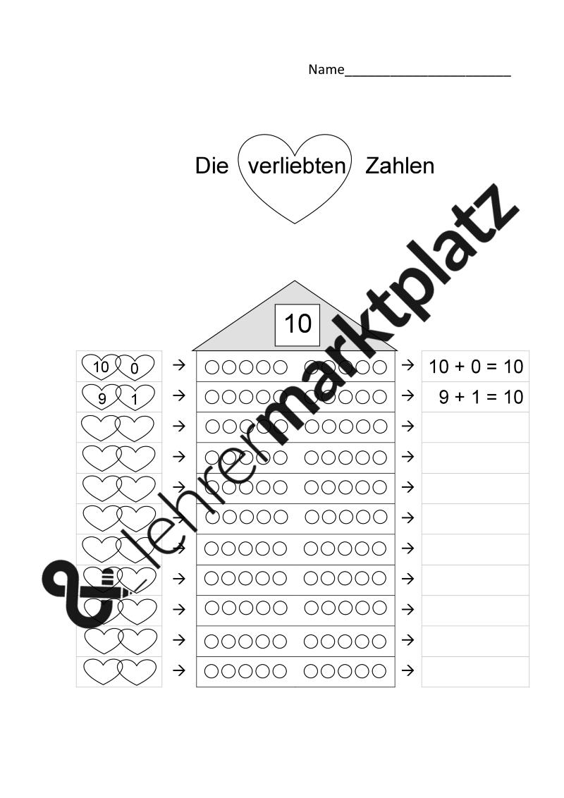 Verliebte Zahlen / Zehnerfreunde / Zerlegung der 10 – Kita ...