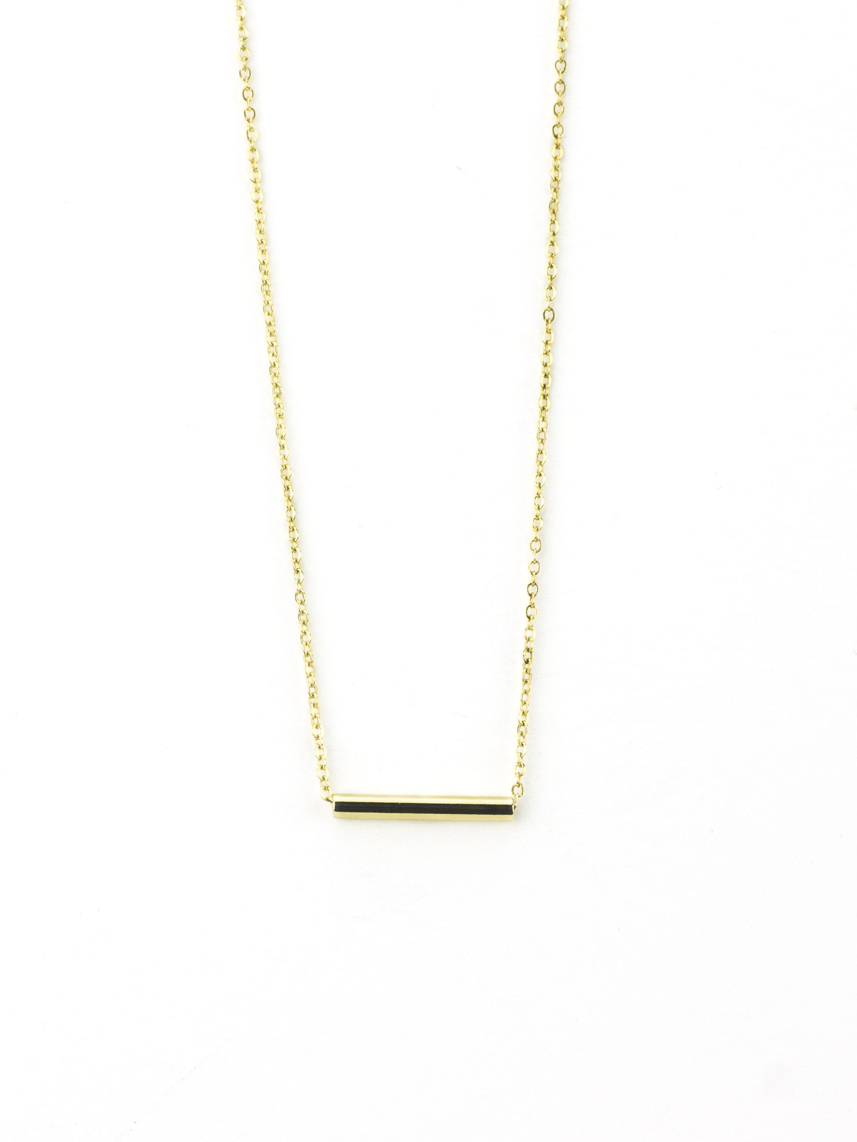 tiny small l gold bar mini personalized huckberry necklace flat