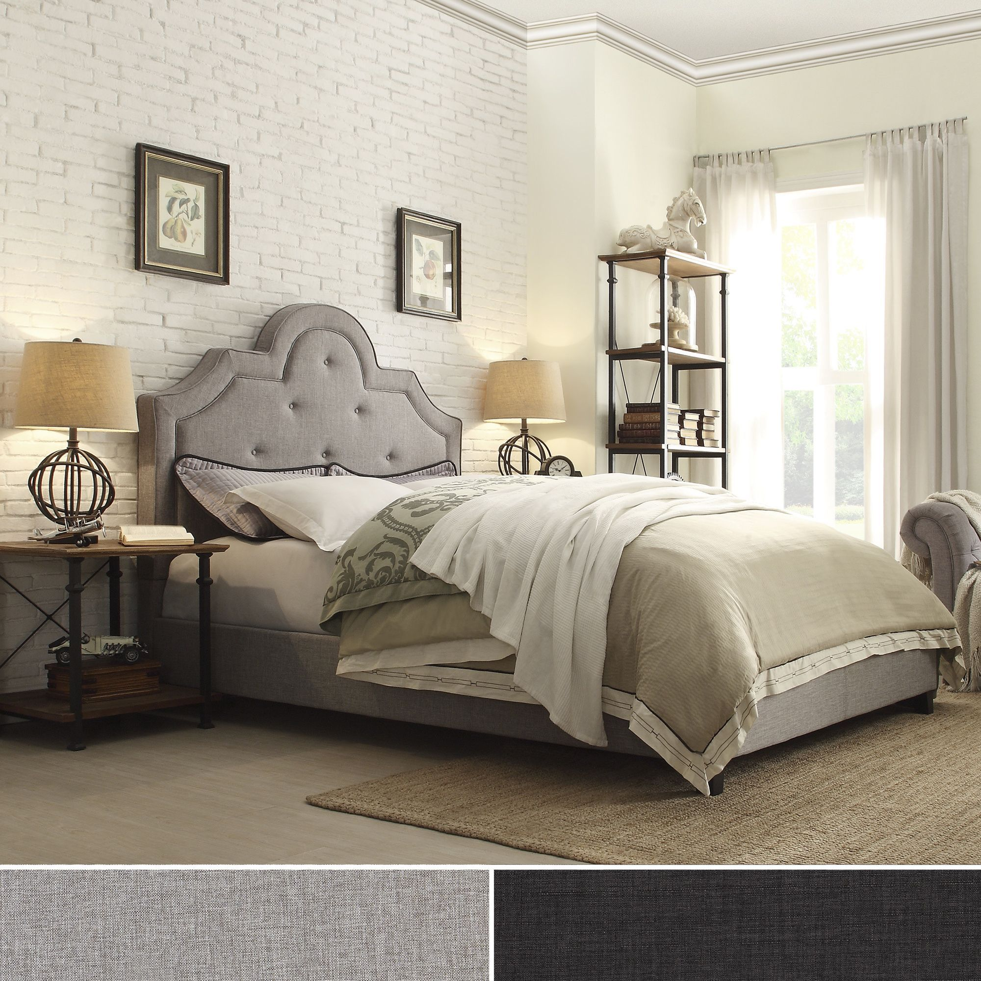 Create a luxurious and romantic boudoir with this glamorous headboard.  Upholstered in luxurious linen,